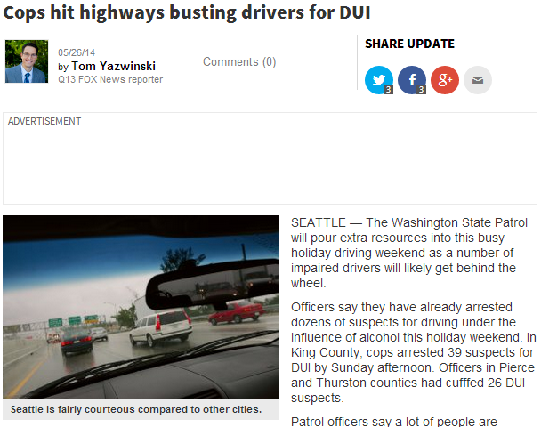 cops hit highways busting drivers for DUI