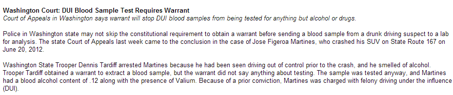 dui blood sample test requires warrant