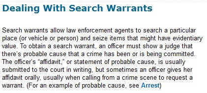 Dealing with search warrants